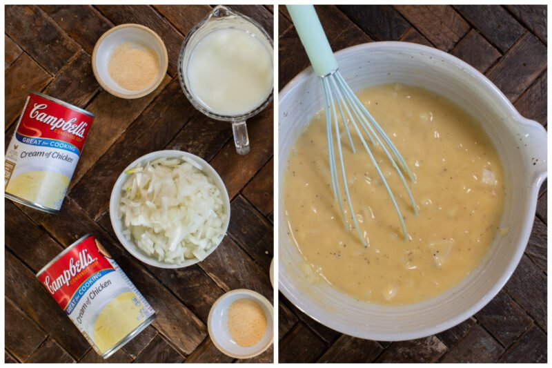 2 image collage of sauce for tater tot casserole