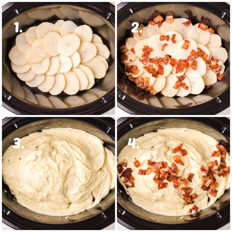 4 image collage on how to assemble scalloped potatoes