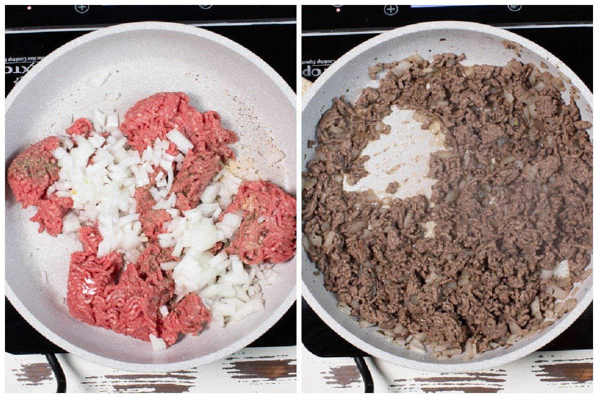 collage of ground beef before and after cooking