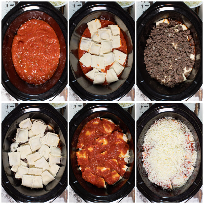 six image collage of how to assemble ravioli lasagna