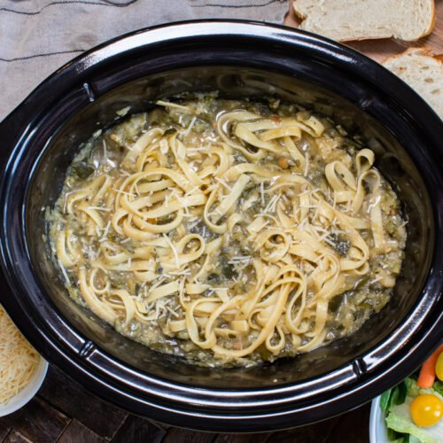 fettucine with zucchini bolognese mixed in. Salad and bread on side