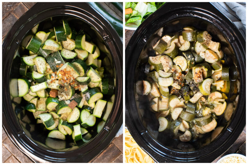 collage of zucchini before and after cooking