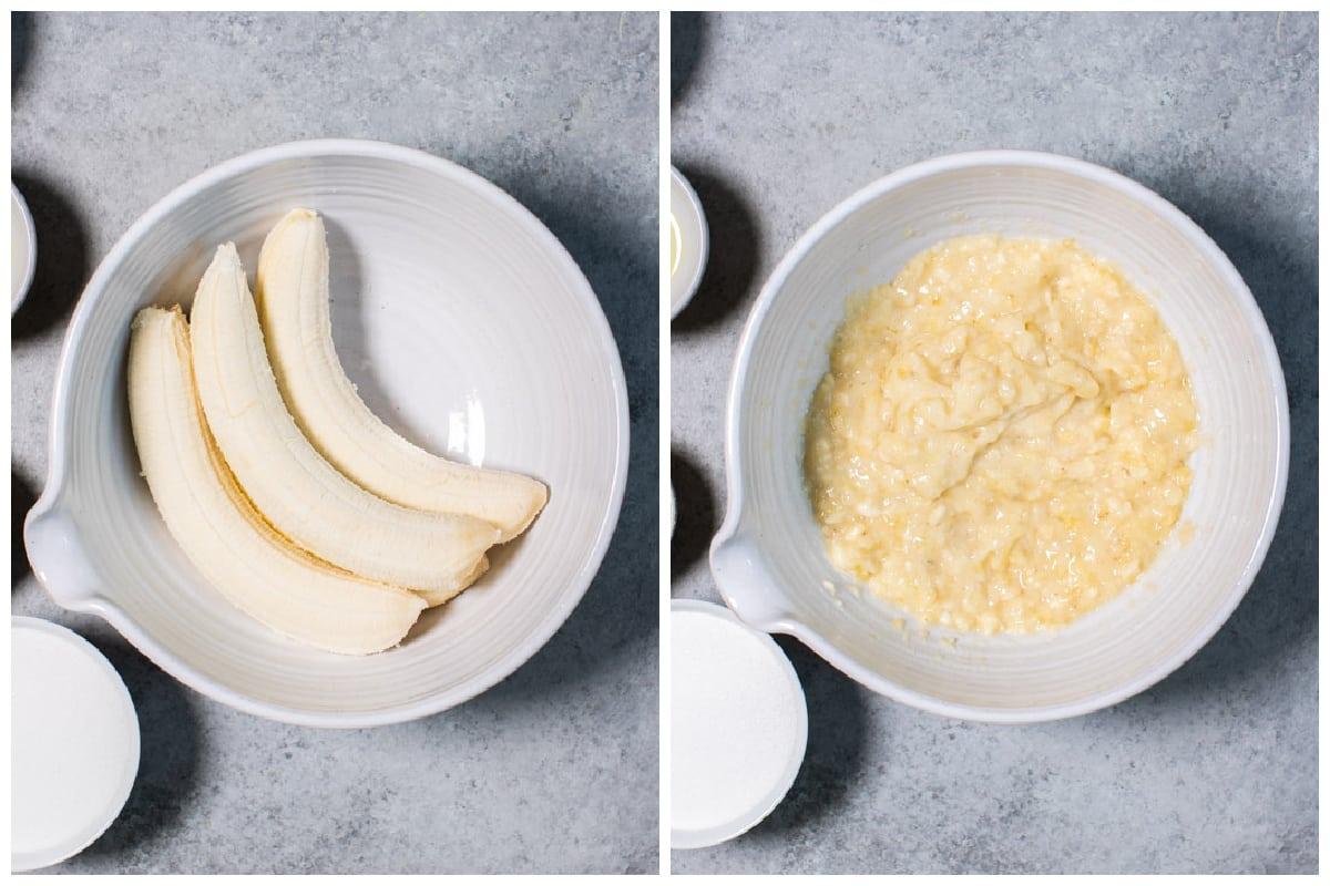 bananas before and after mashing.