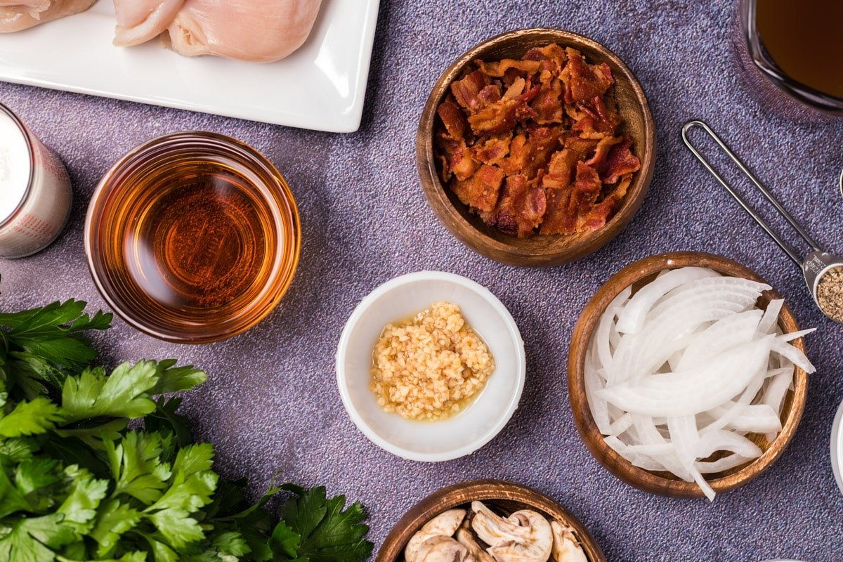 ingredients for chicken marsala on table