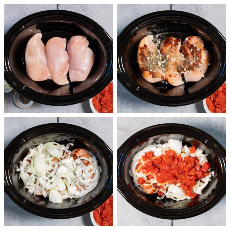 4 photo collage on how to make chicken tinga in the slow cooker