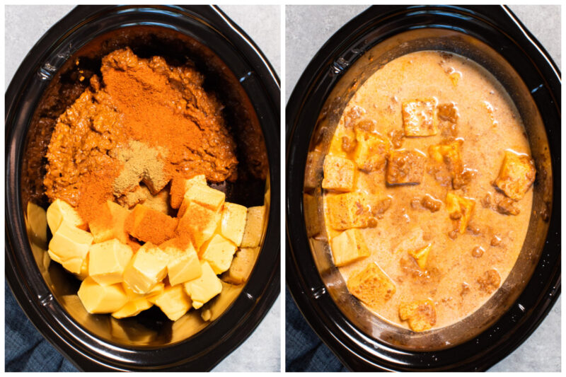 2 images of chili cheese dip before cooking