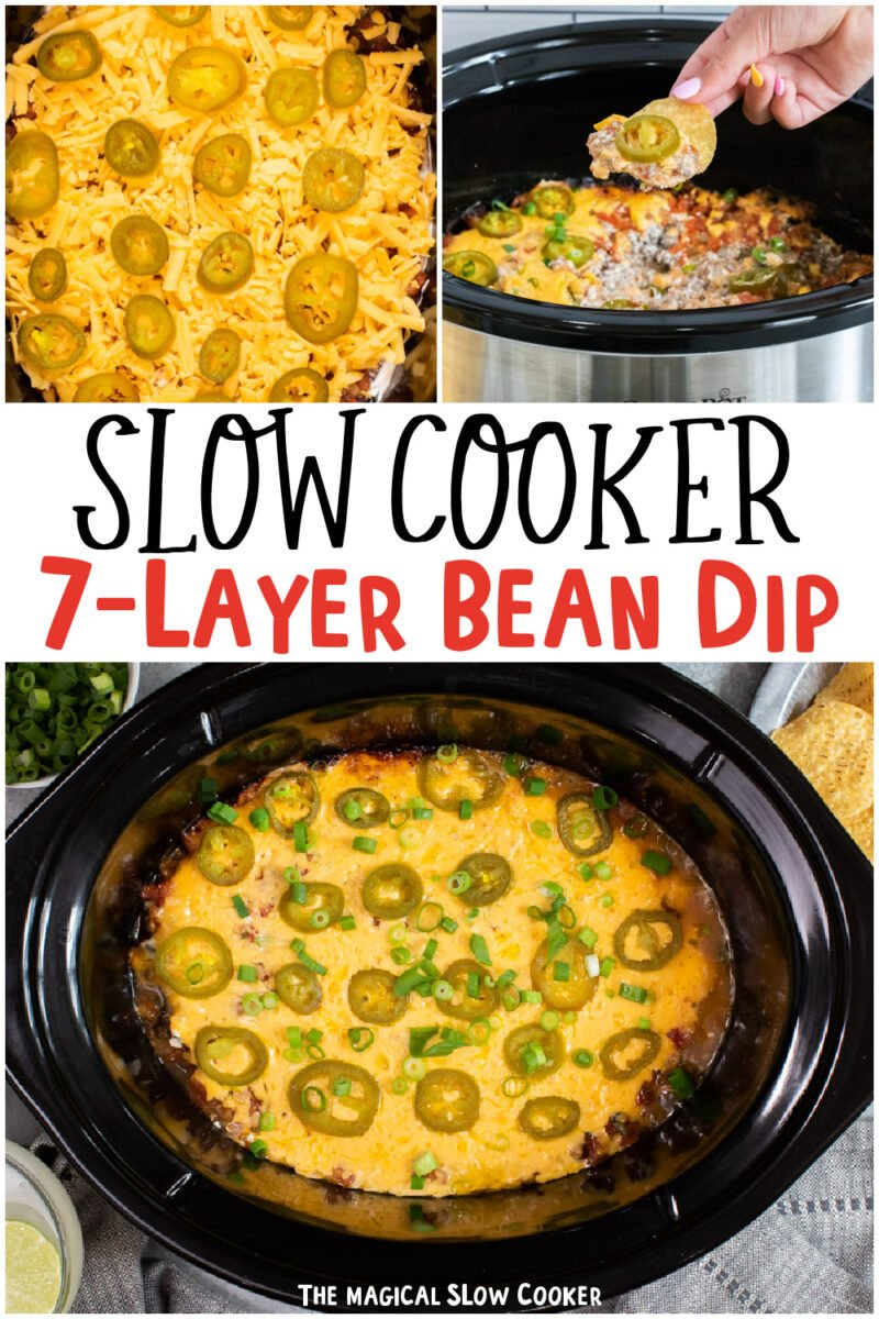 collage of 7 layer bean dip images with text overlay for pinterest