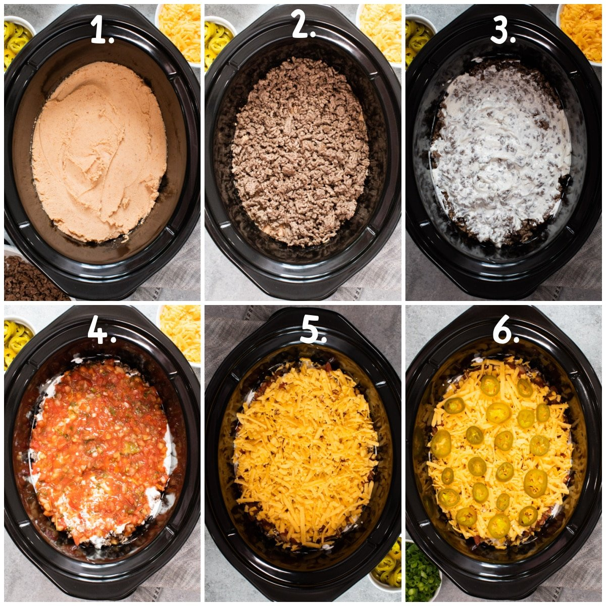 6 image collage of the first 6 layers of 7 layer bean dip