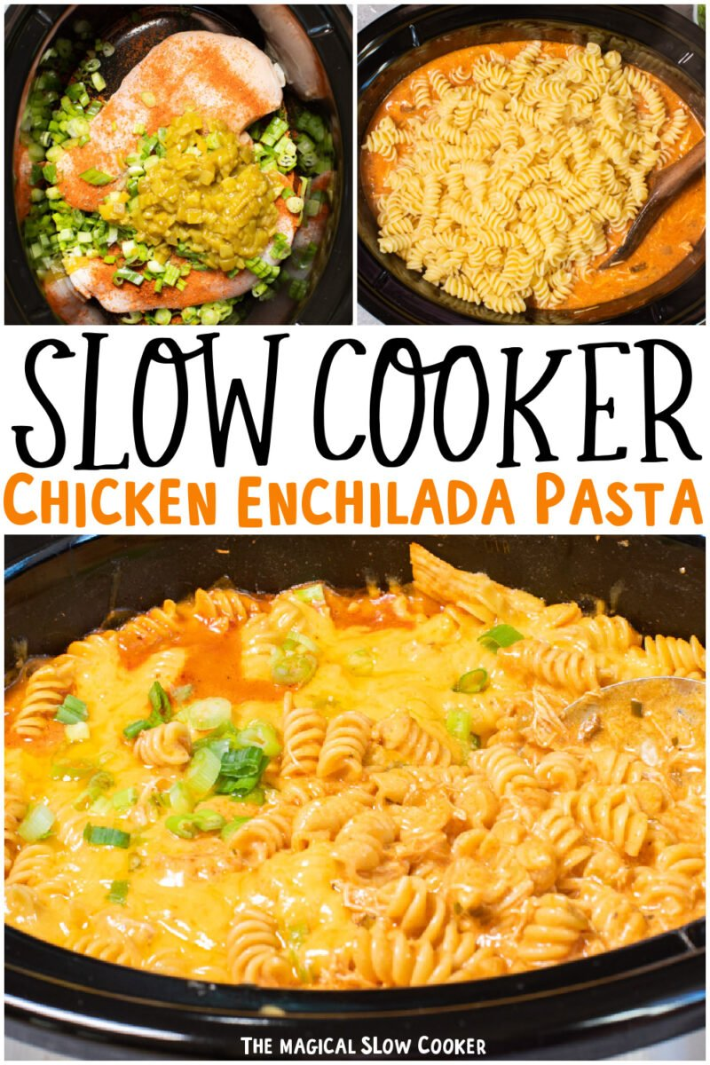 collage of enchilada pasta images with text overlay for pinterest