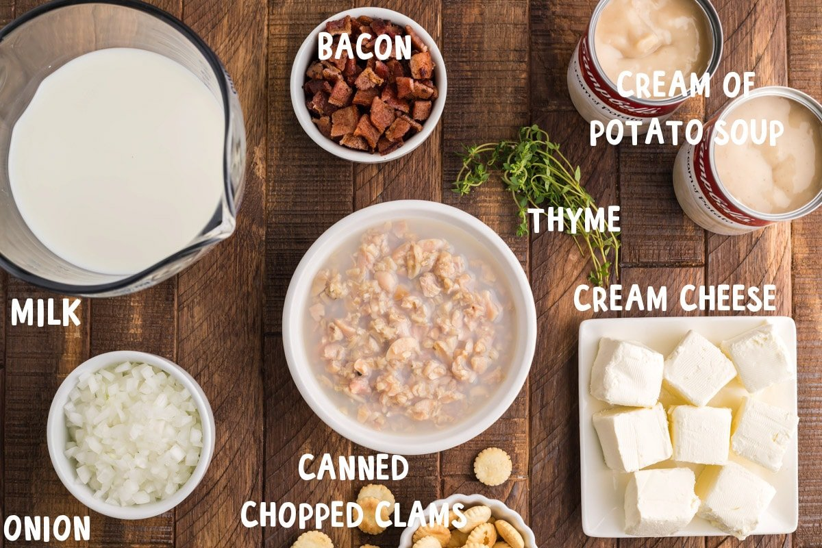 ingredients for clam chowder on table, with text overlay
