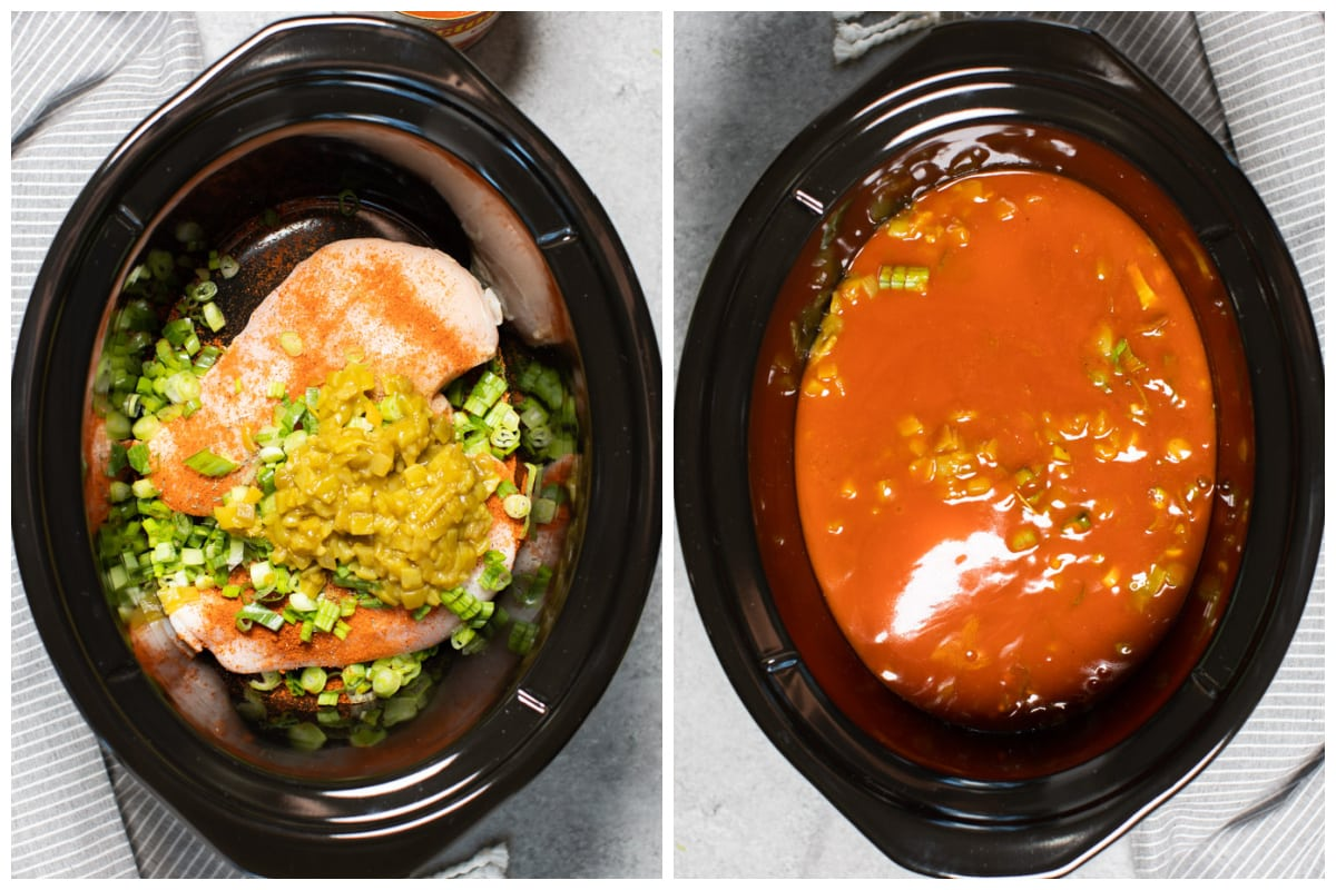 2 images. One of chicken with seasonings on top and the other with enchilada sauce on top of that