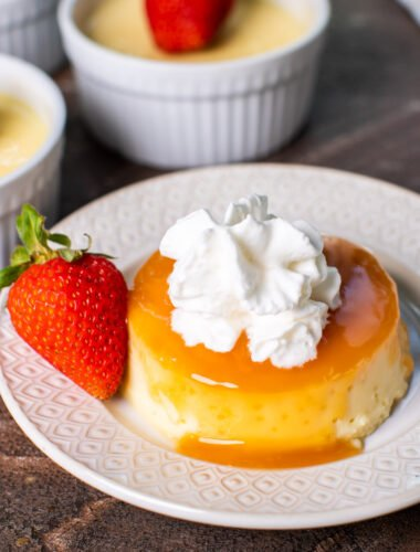 up close image of flan with caramel on top