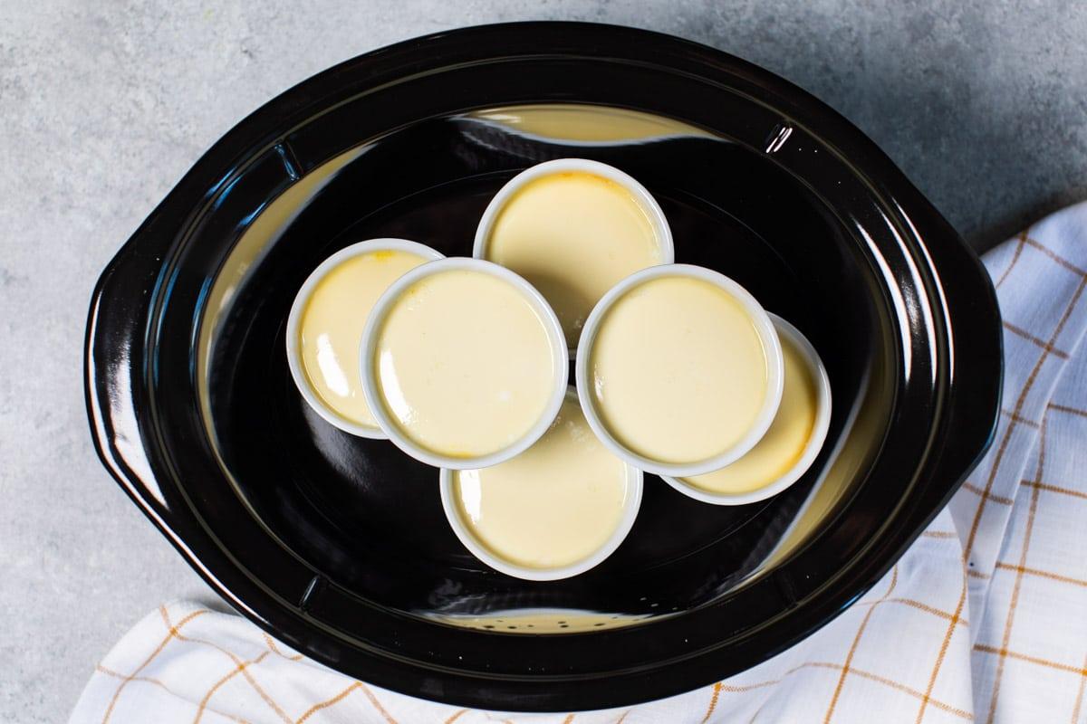 6 cooked ramekins of flan