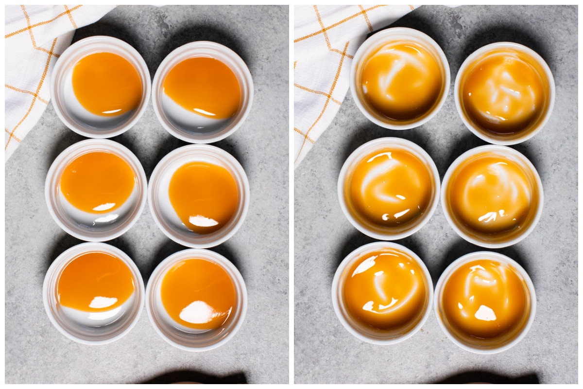 2 image collage of how to put caramel in ramekins