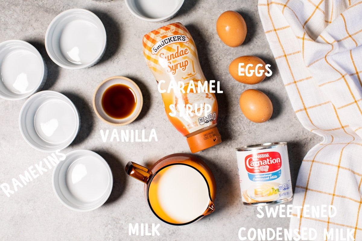 ingredients for flan on table with text overylays