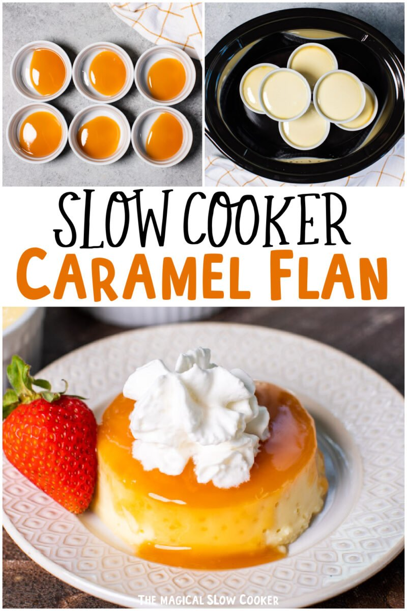 collage of caramel flan images with text overlay for pinterest