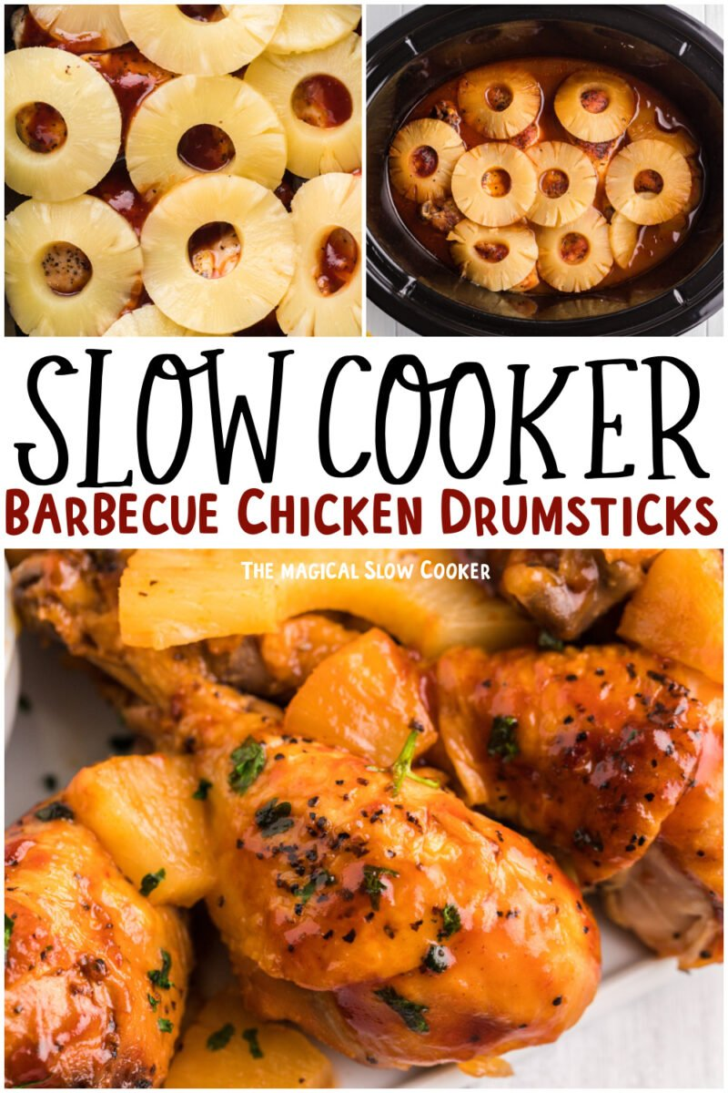 collage of barbecue drumsticks with text overlay for pinterest