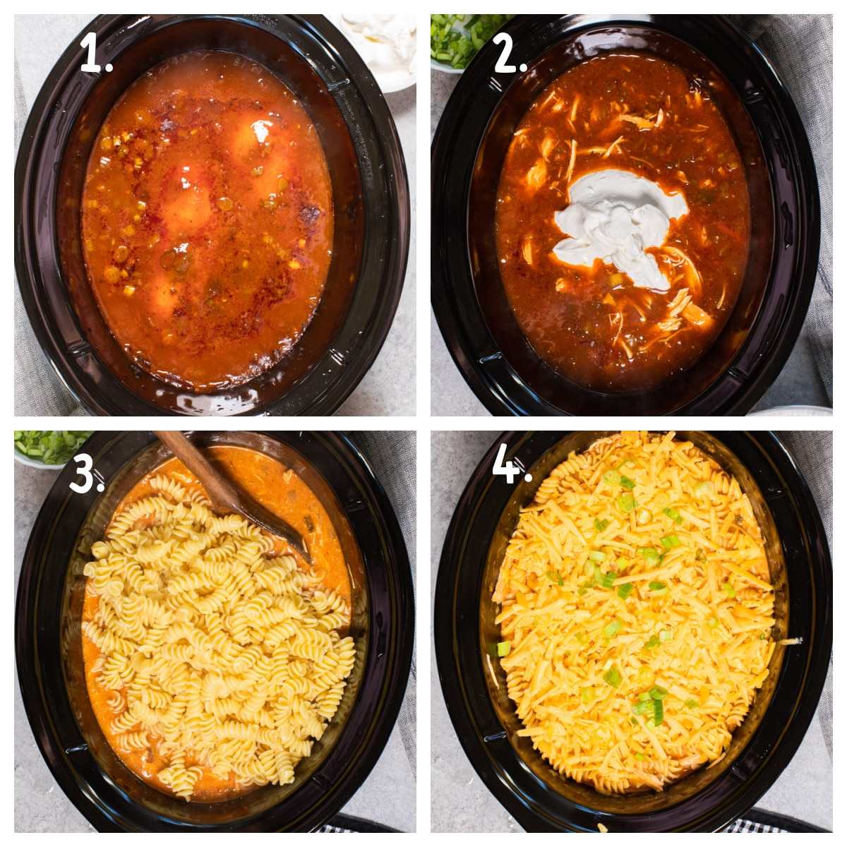 collage of how to make enchilada pasta in slow cooker