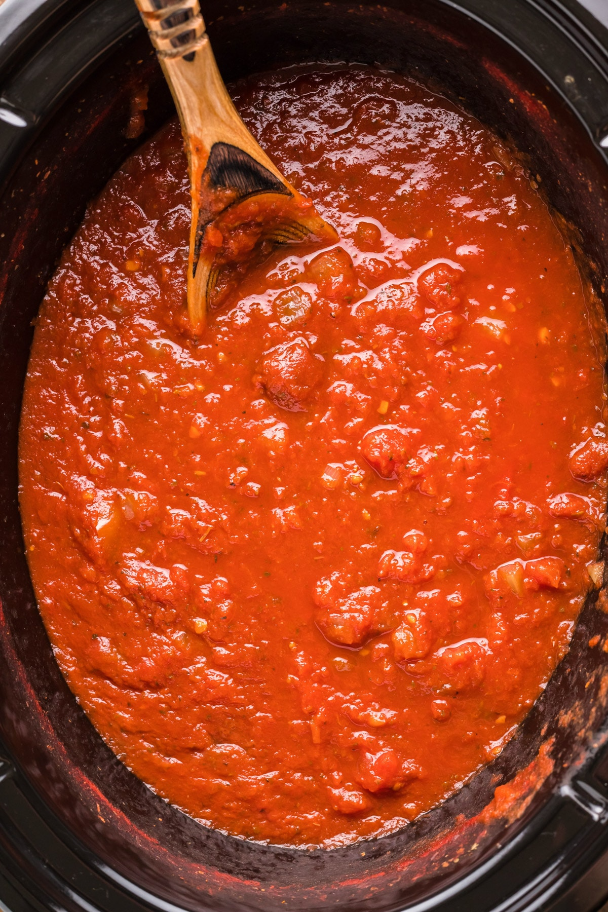 marinara sauce in slow cooker, done cooking