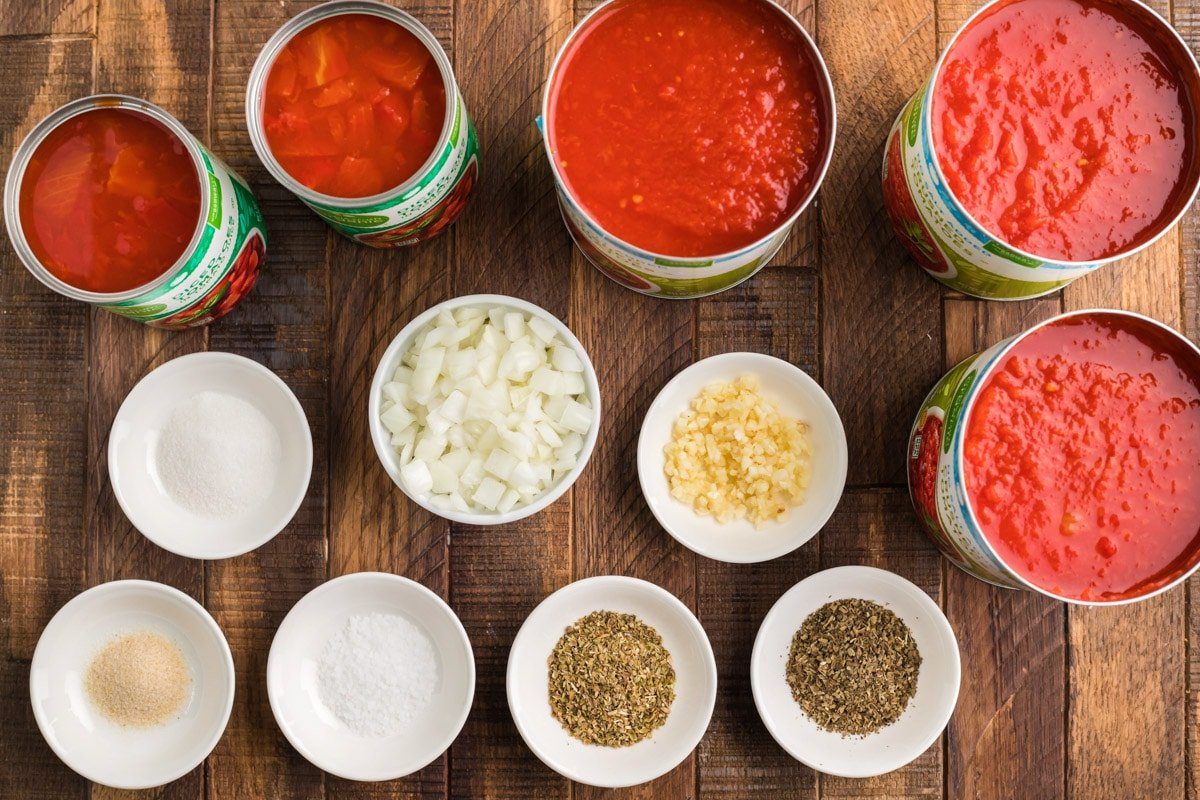 ingredients for marinara sauce on table