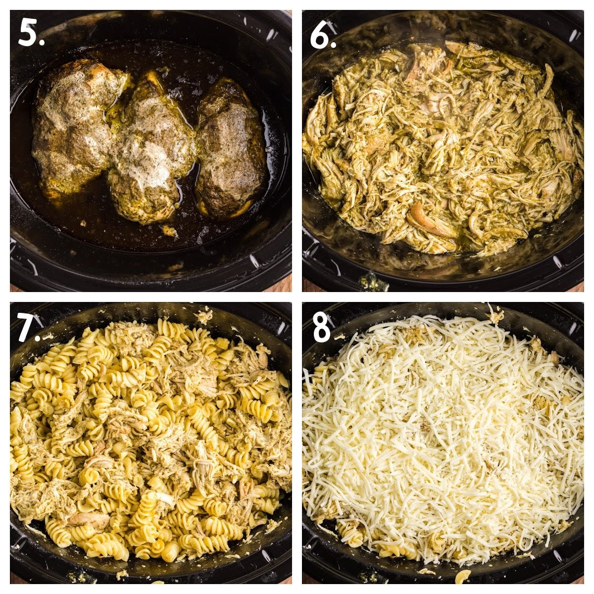 collage about how to shred chicken, add pasta and cheese to dish