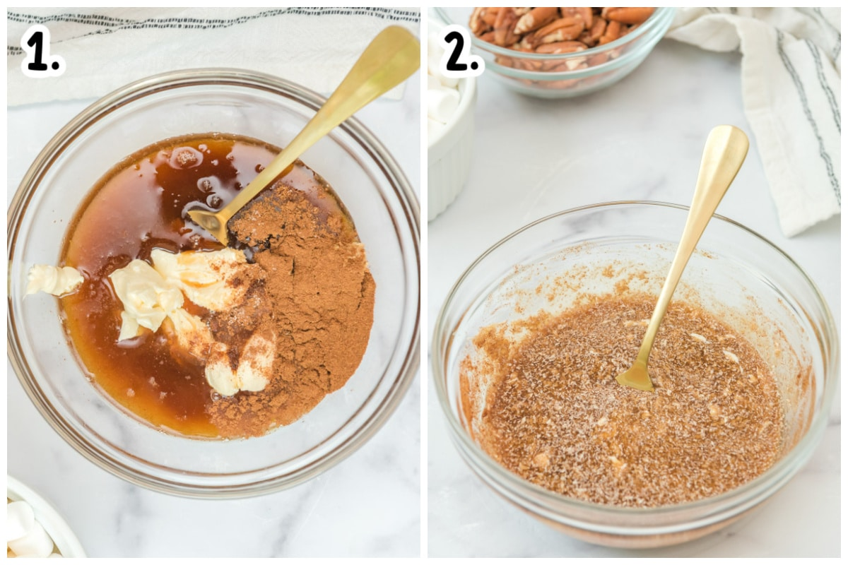 2 images of butter, syrup and seasonings