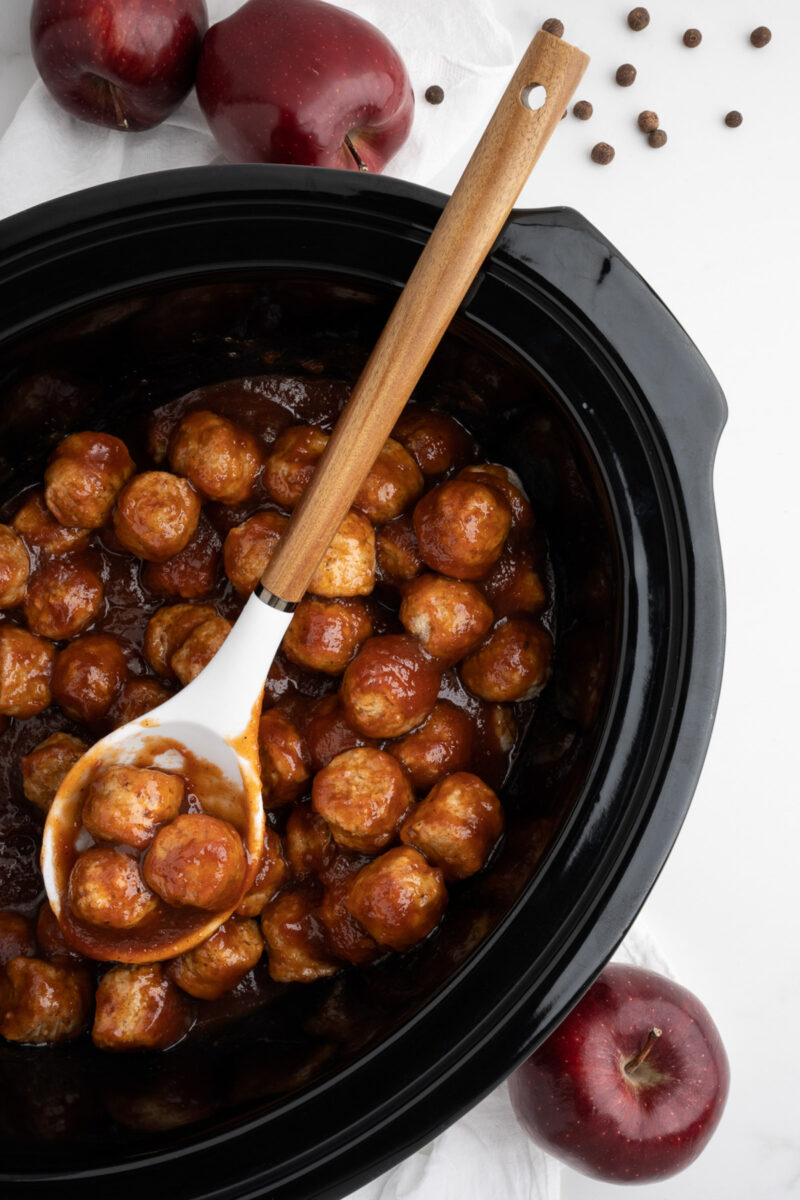 done cooking apple butter meatballs in slow cooker