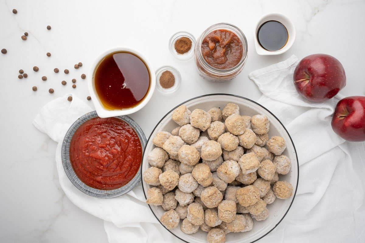 ingredients for apple butter meatballs on table