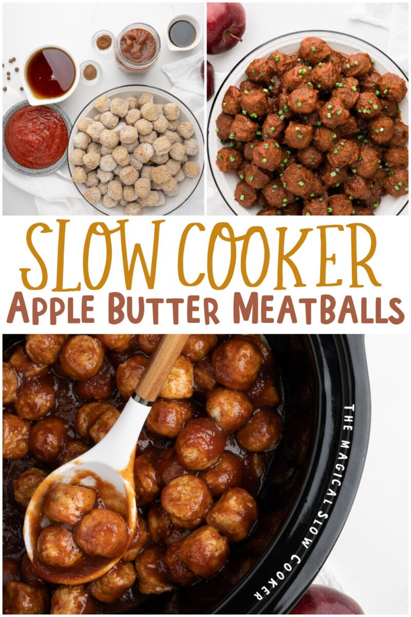 collage of apple butter meatball images with text overlay for pinterest