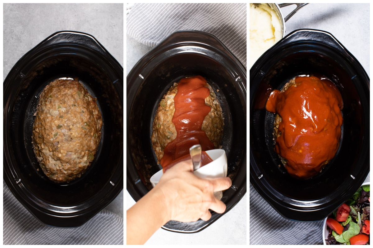 collage of meatloaf and meatloaf tomato topping
