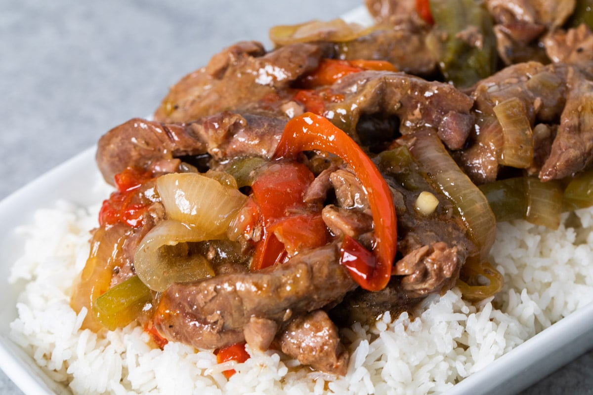 pepper steak on a bed of white rice