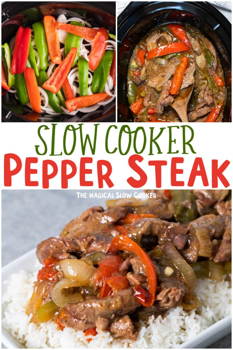 collage of pepper steak images with text overlay for pinterest