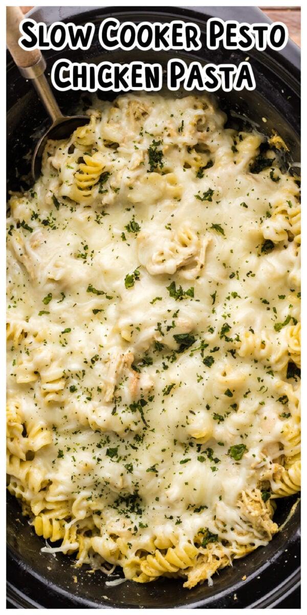 long image of pesto pasta for pinterest