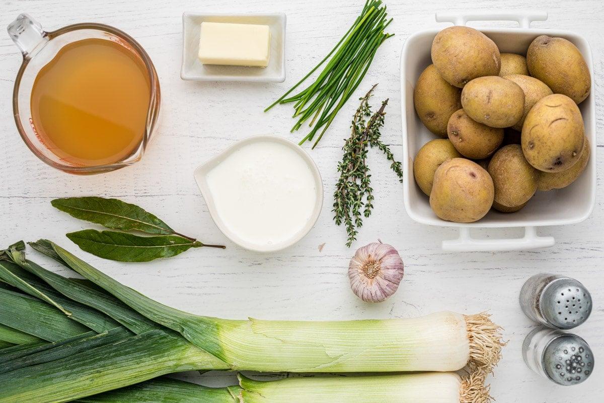 ingredients for potato leek soup on table