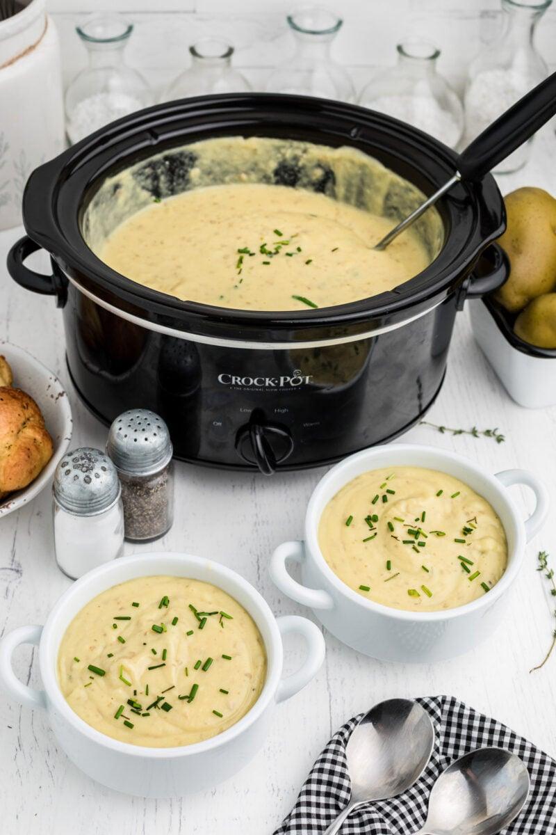 crockpot with potato leek soup in it