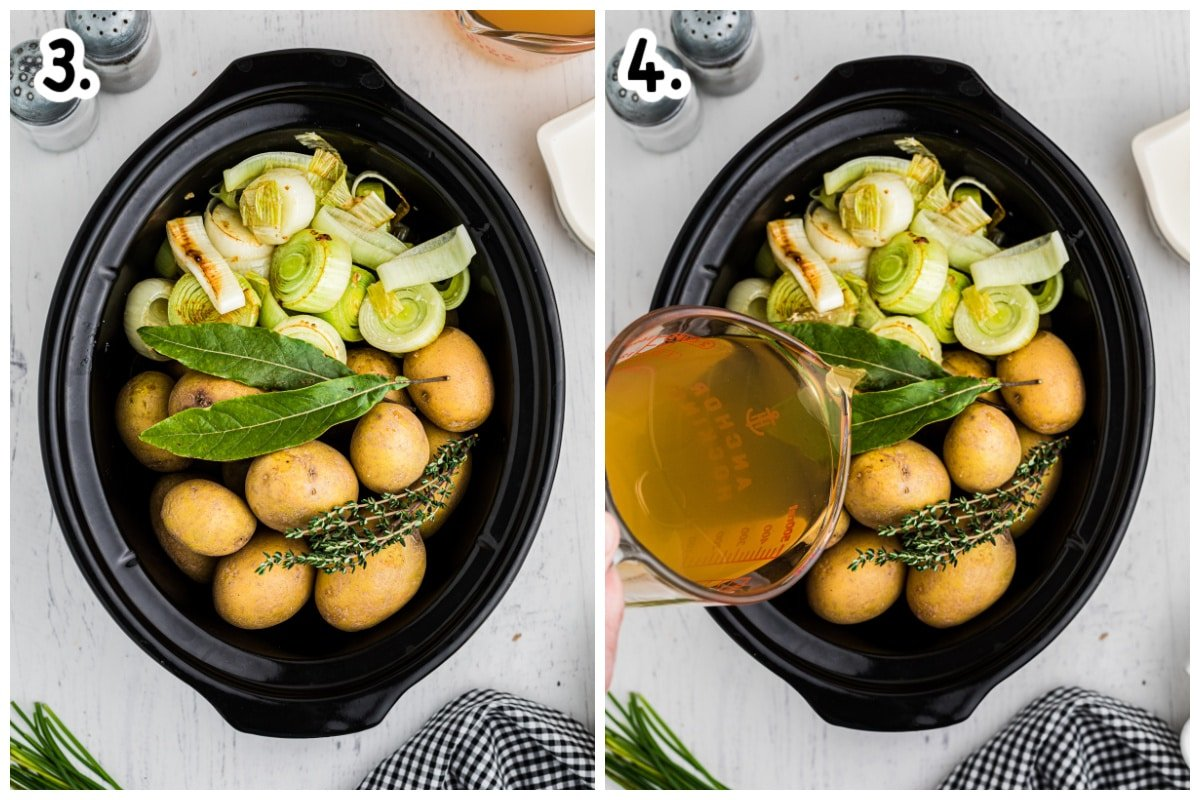 potatoes, leeks and seasonings in slow cooker. Chicken broth being poured over.