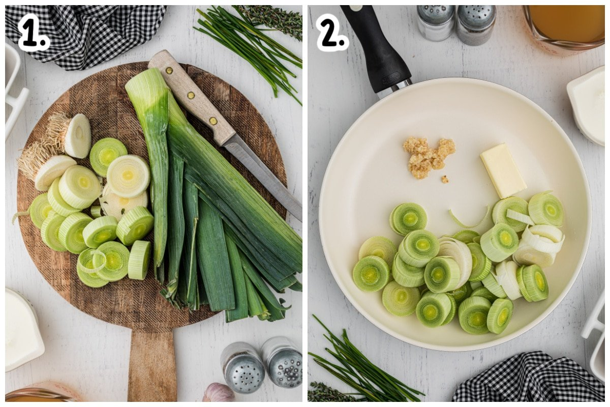 leeks on cutting board, and leeks butter and garlic in skillet
