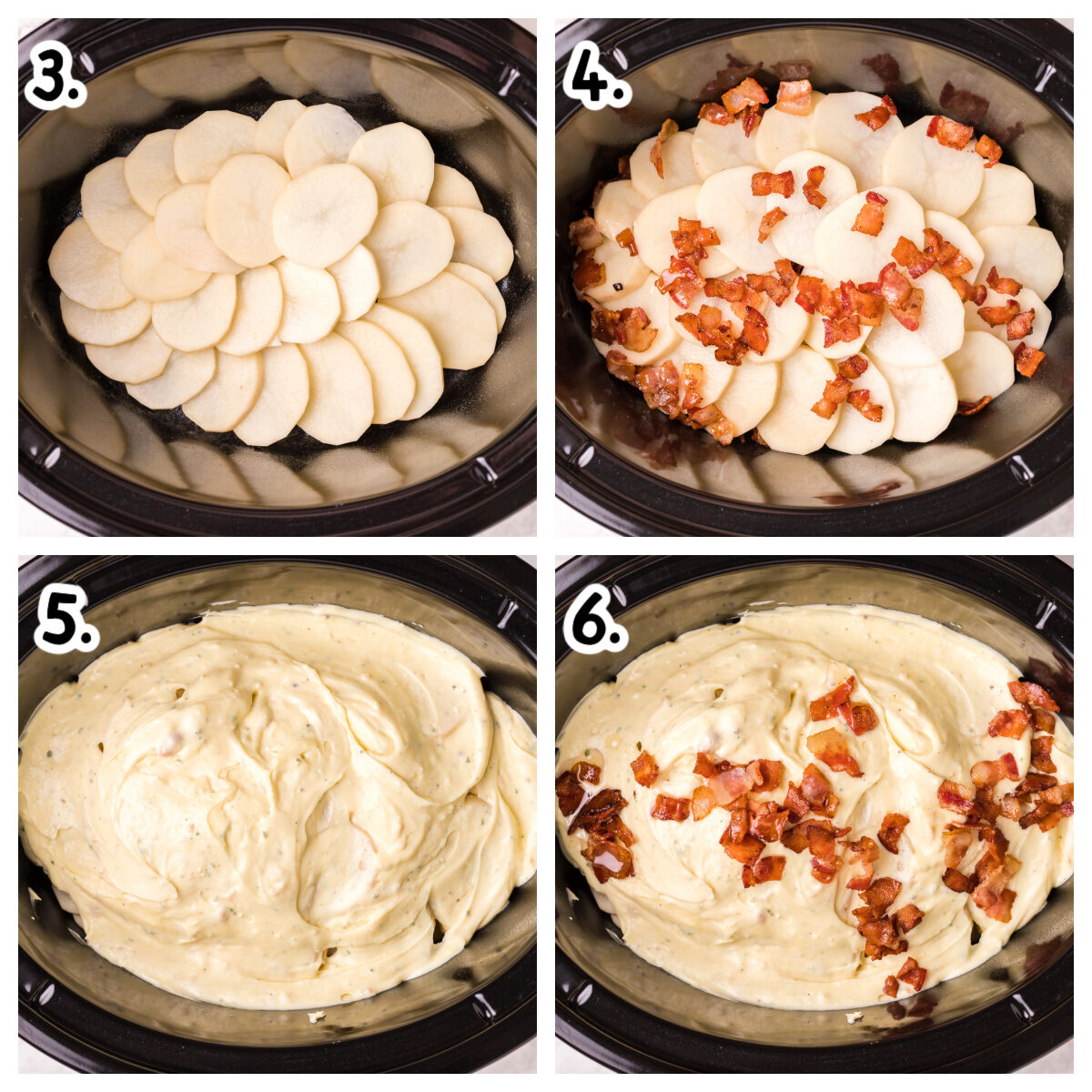 4 image collage about how to add ingredients to slow cooker for scalloped potatoes