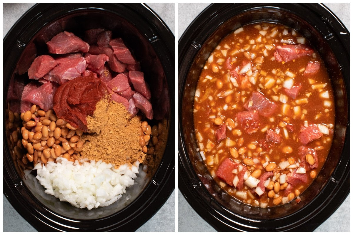 collage of how to add ingredients for chili into slow cooker