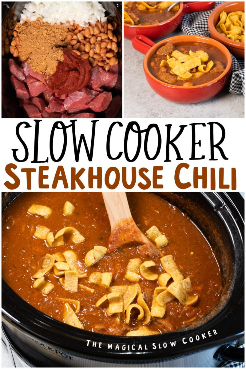 collage of steakhouse chili images with text overlay for pinterest