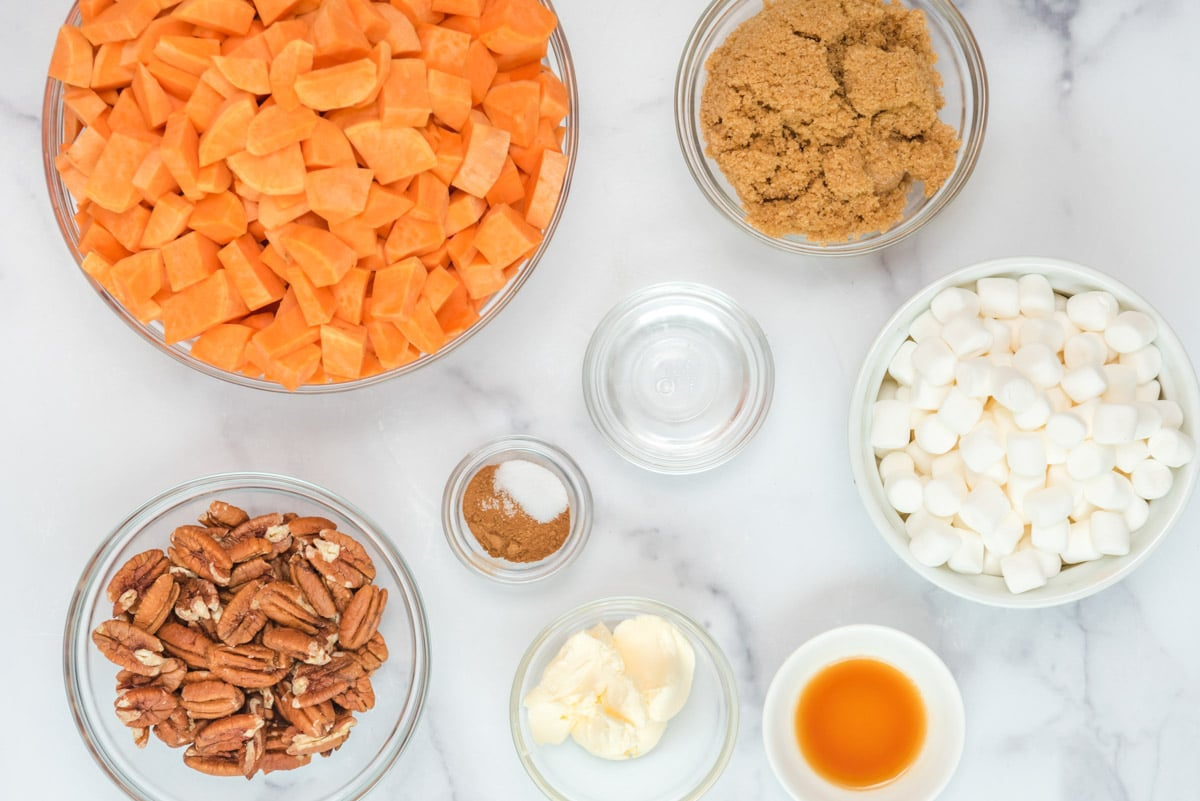 ingredients for sweet potato casserole on a table