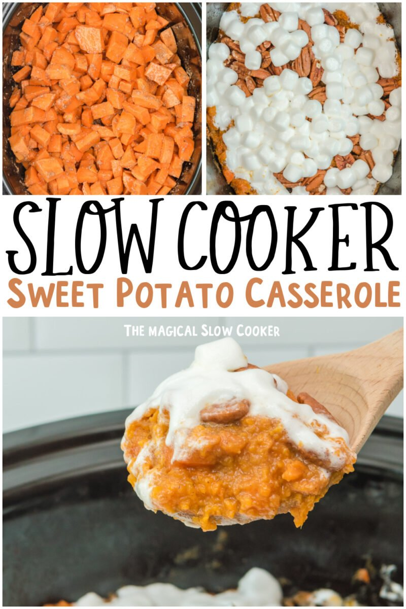 collage of sweet potato casserole with text overlay for pinterest