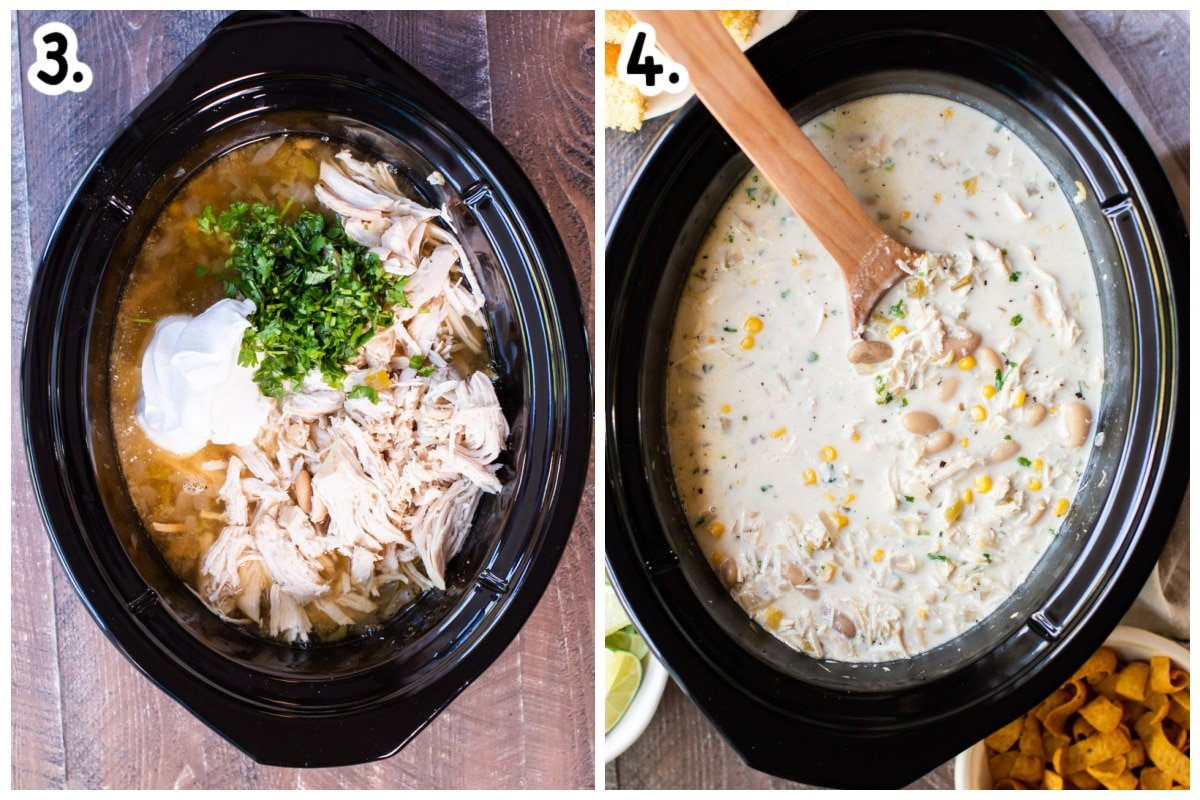 2 images. One of cooked chili with chicken shredded and sour cream. Other one finished chili