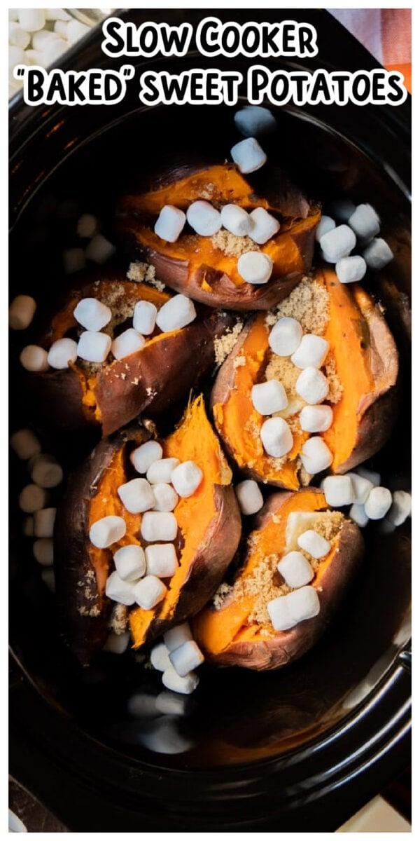 long image of baked sweet potatoes